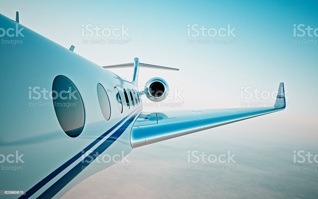 Closeup of realistic photo white, luxury generic design private jet stock photo