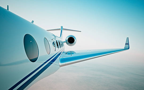 Closeup of realistic photo white, luxury generic design private jet – Foto
