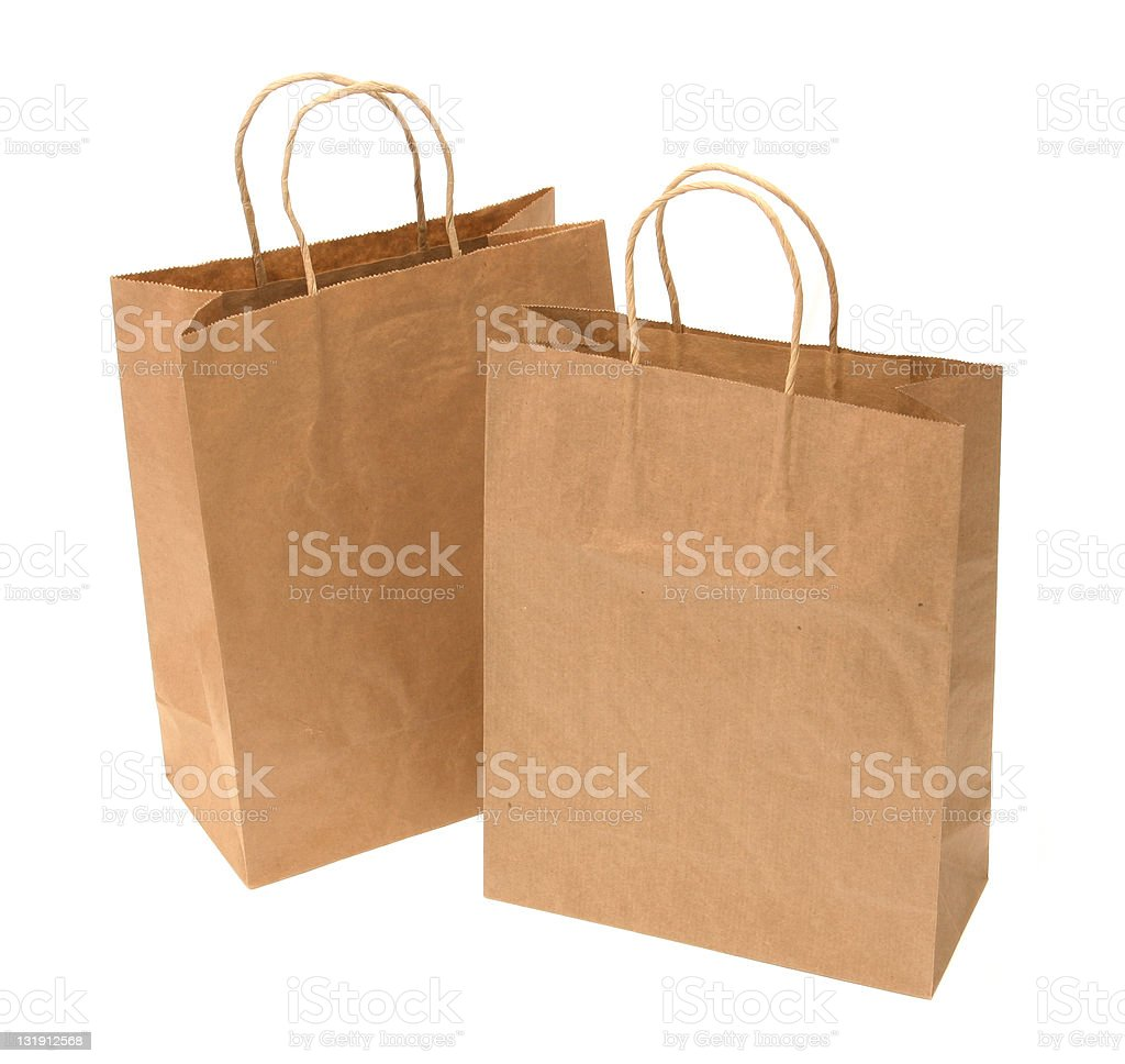Close-up of recycled paper shopping bags royalty-free stock photo