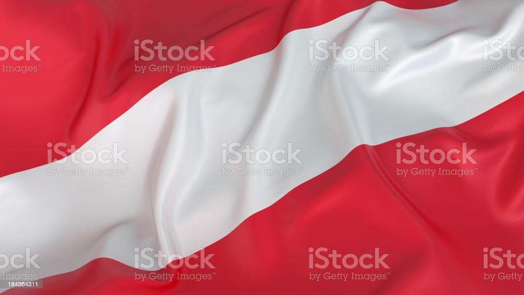 Close-up of red and white Austrian flag royalty-free stock photo