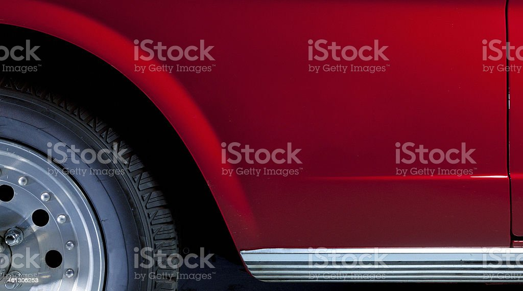 close-up of red car side stock photo
