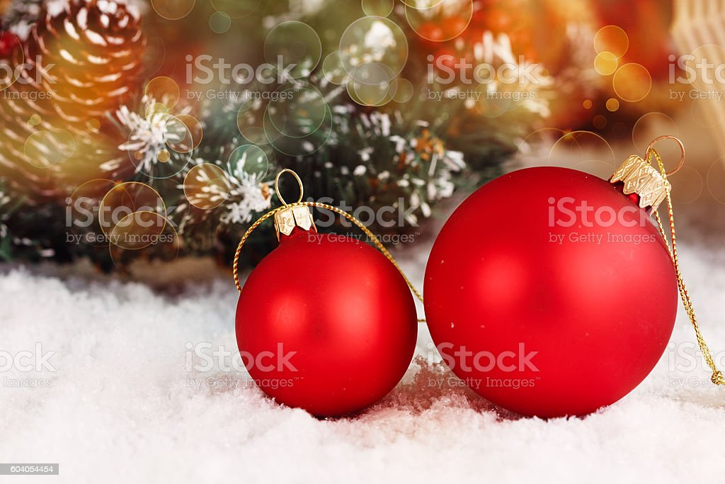 Closeup of red Christmas balls stock photo