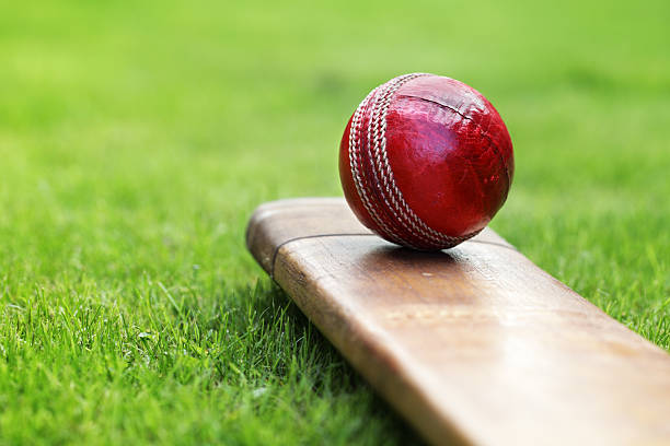 Close-up of red cricket ball and bat sitting on grass stock photo