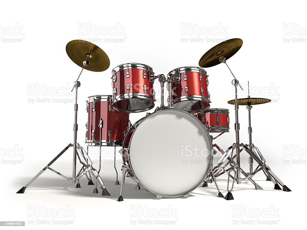 Close-up of red drum set on white background stock photo