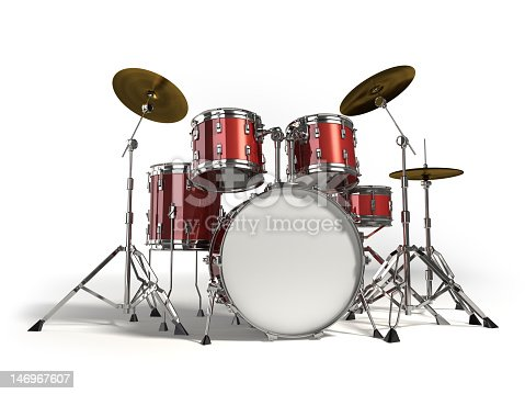 Closeup Of Red Drum Set On White Background Stock Photo More