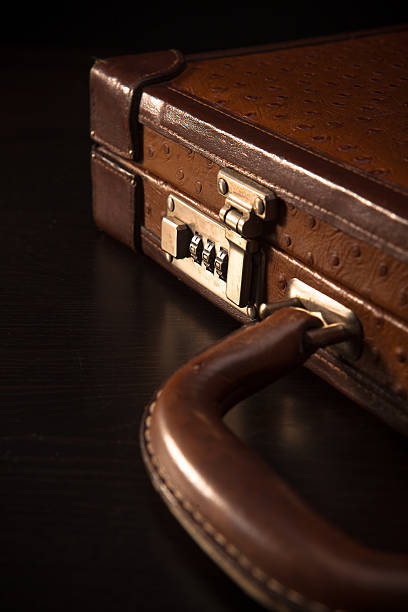 Closeup of Red Leather Briefcase stock photo