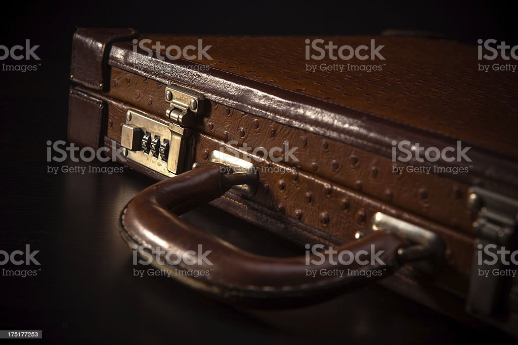 Closeup of Red Leather Briefcase royalty-free stock photo