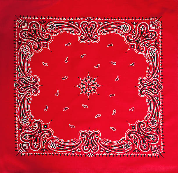 Close-up of red patterned bandana stock photo