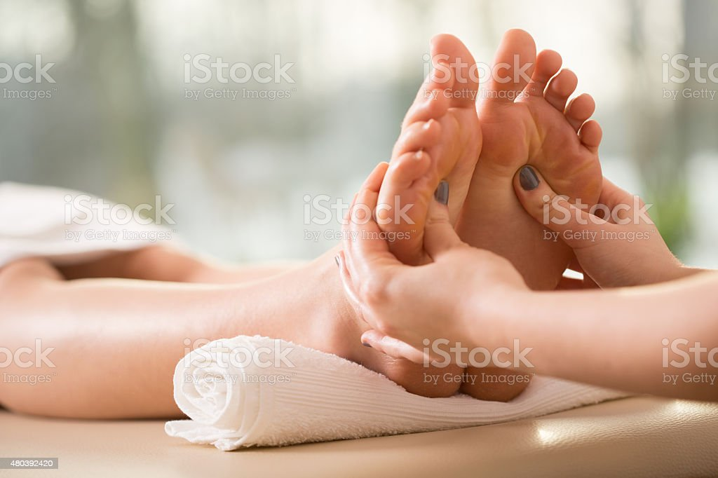 Close-up of reflexology stock photo