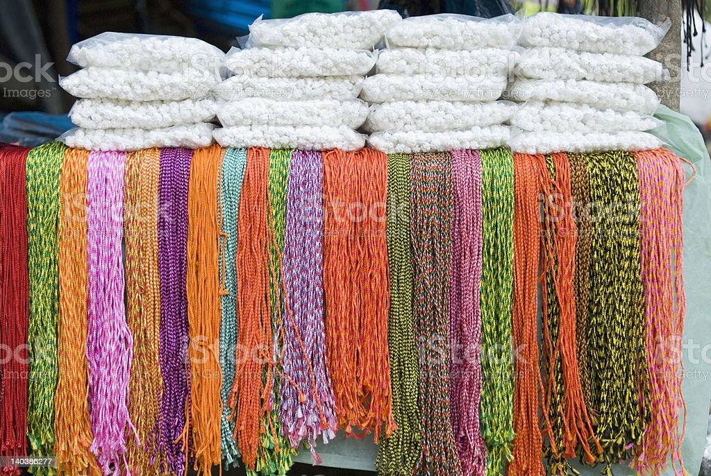 Close-up of religious offerings for sale, Katmandu, Nepal royalty-free stock photo