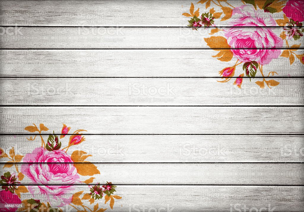 Closeup of retro rose fabric for grunge white wood background royalty-free stock photo