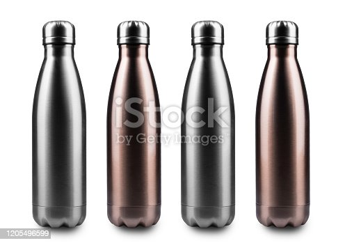 1129148925 istock photo Close-up of reusable steel stainless thermo water bottles, isolated on white background. 1205496599