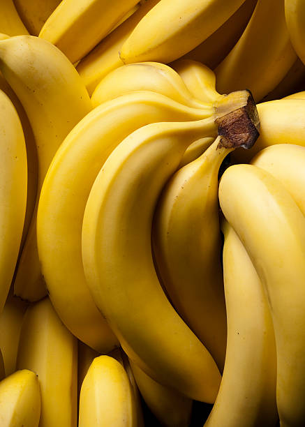 Close-up of ripe, yellow banana bunches stock photo