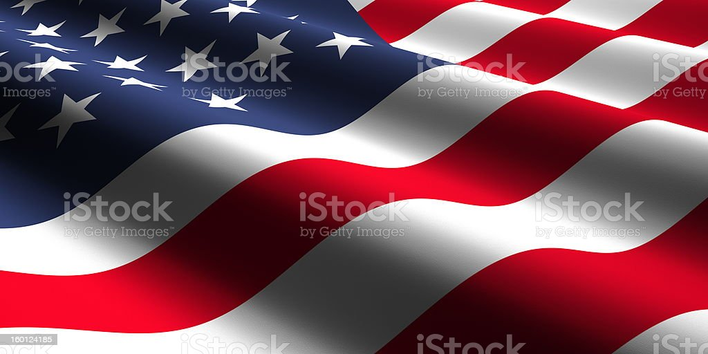 Close-up of rippled American flag stock photo