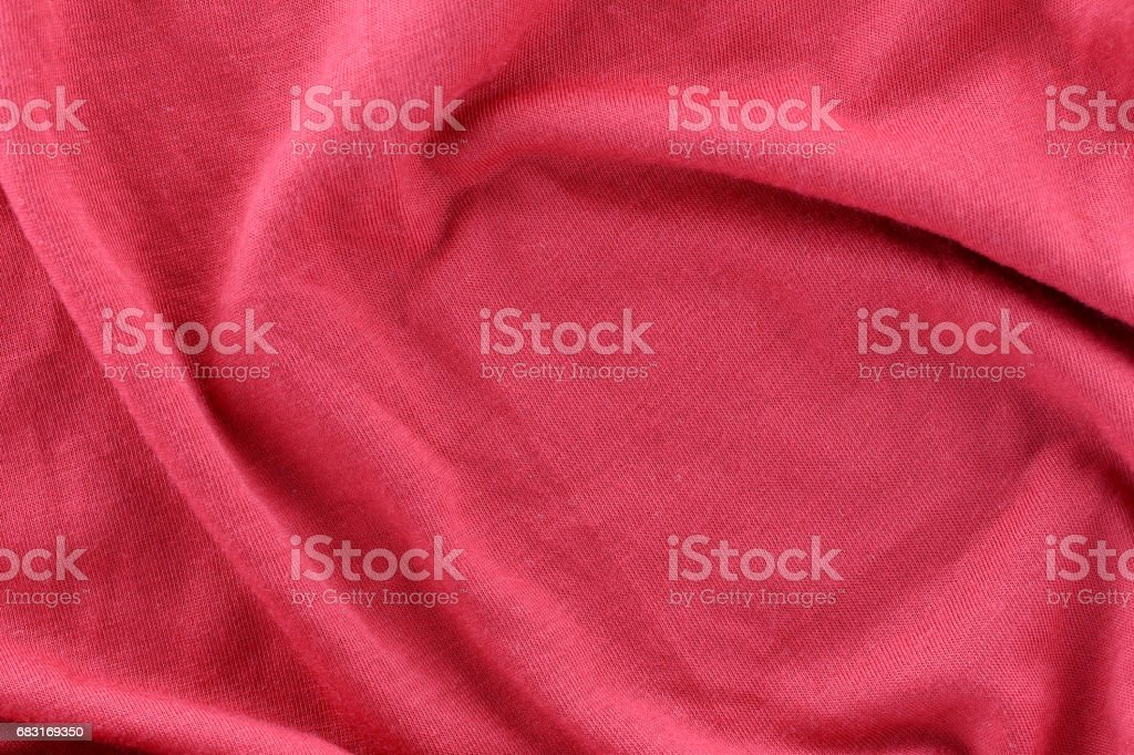 Closeup of rippled red cotton fabric and have copy space to design. Lizenzfreies stock-foto