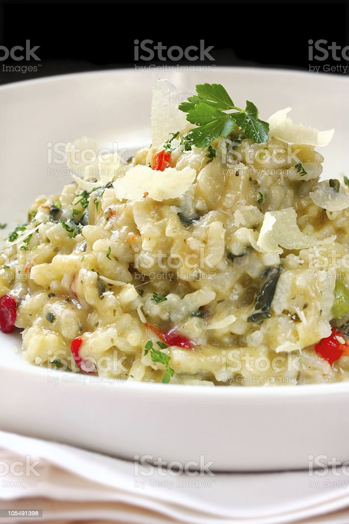 Close-up of risotto on white dish stock photo
