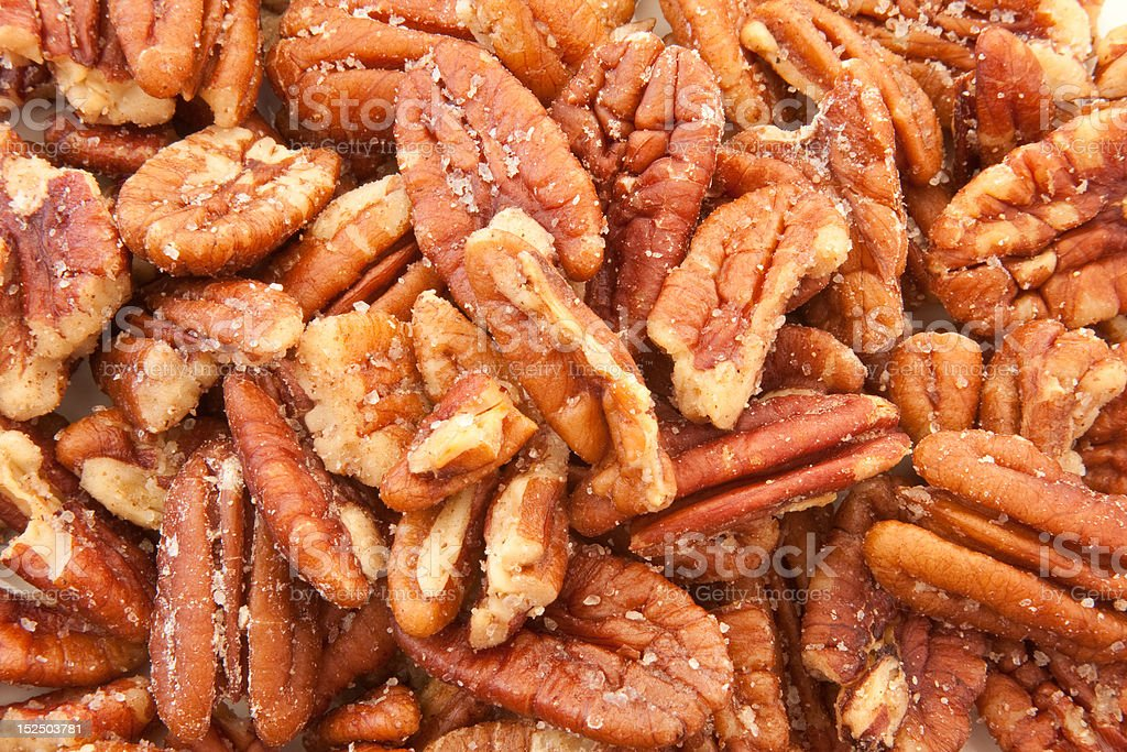 Closeup of Roasted Pecans stock photo