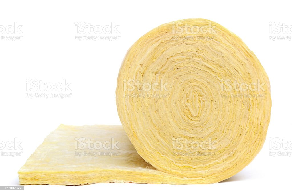 Close-up of roll of fibreglass insulation material on white stock photo