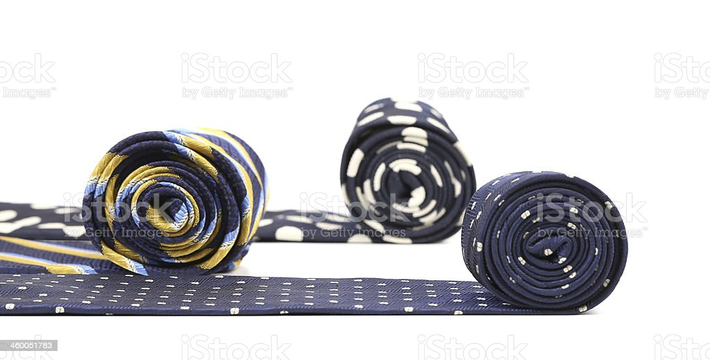 Close-up of rolled up neckties. stock photo