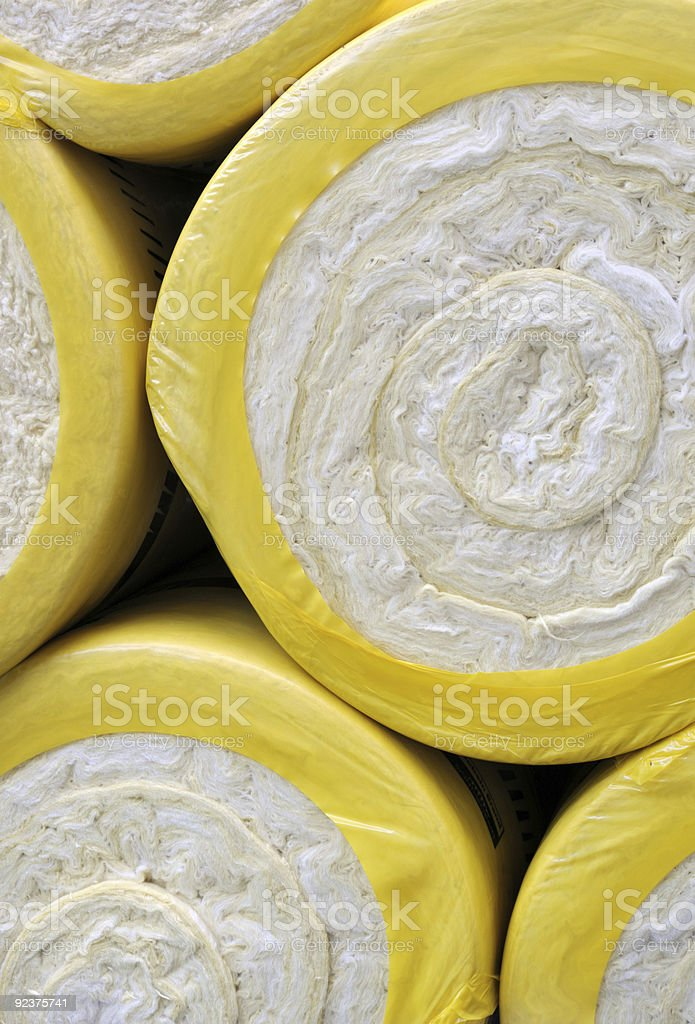 Close-up of rolls of thermal insulation material royalty-free stock photo
