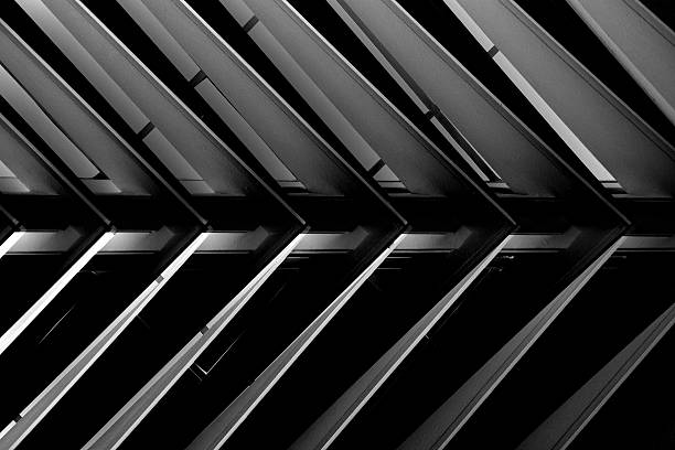 Close-up of roof / attic structure or suspended lath ceiling stock photo