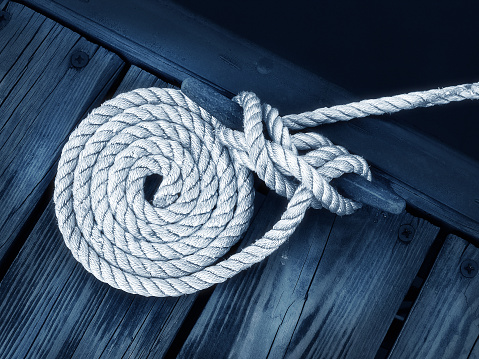 Close-up of rope tied as a nautical