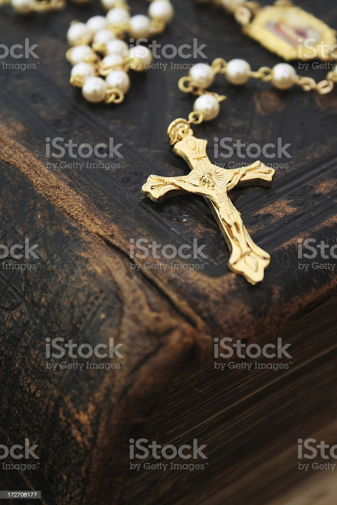 Close-up of rosary on an old bible royalty-free stock photo
