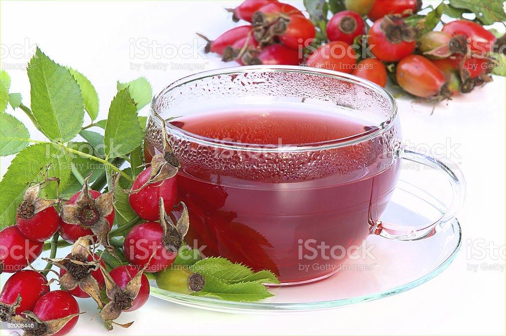 Close-up of rose hip tea teacup stock photo