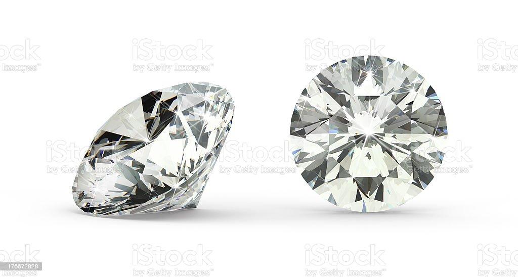 Close-up of round cut diamond on white background royalty-free stock photo
