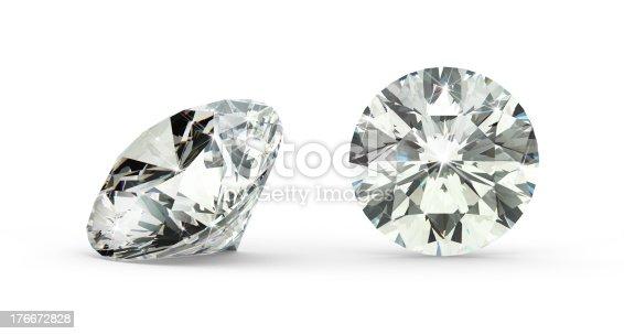 Closeup Of Round Cut Diamond On White Background Stock