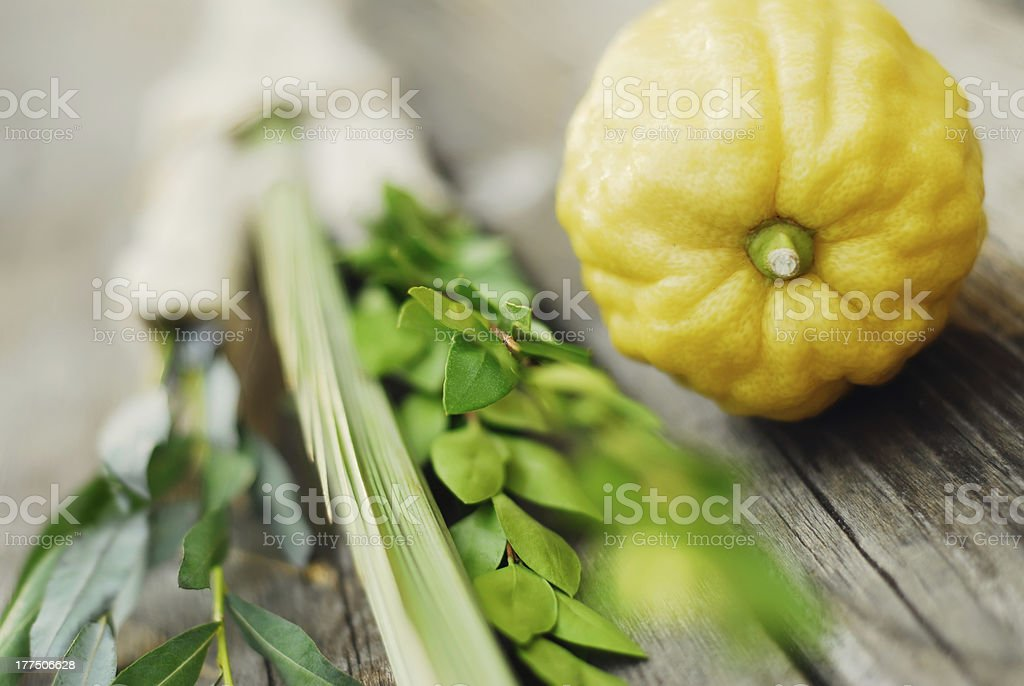 Close-up of round yellow vegetable and green leafy vegetable stock photo
