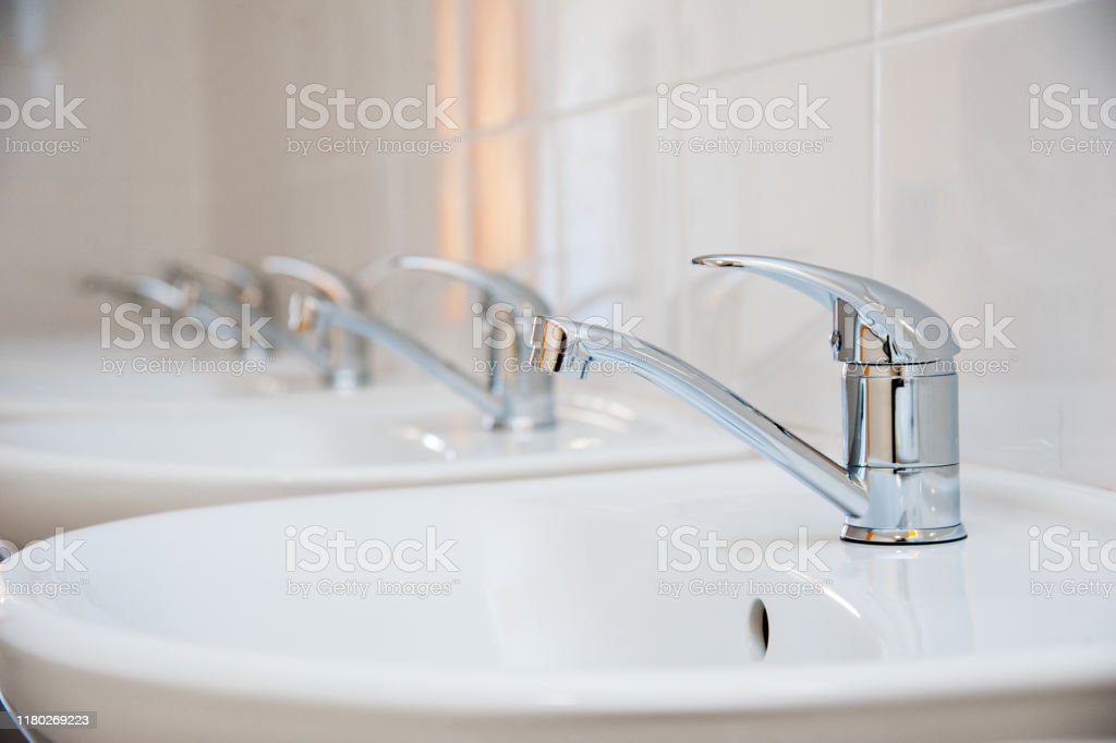 Closeup Of Row Modern Ceramic Wash Hand Basins Stock Photo Download Image Now Istock