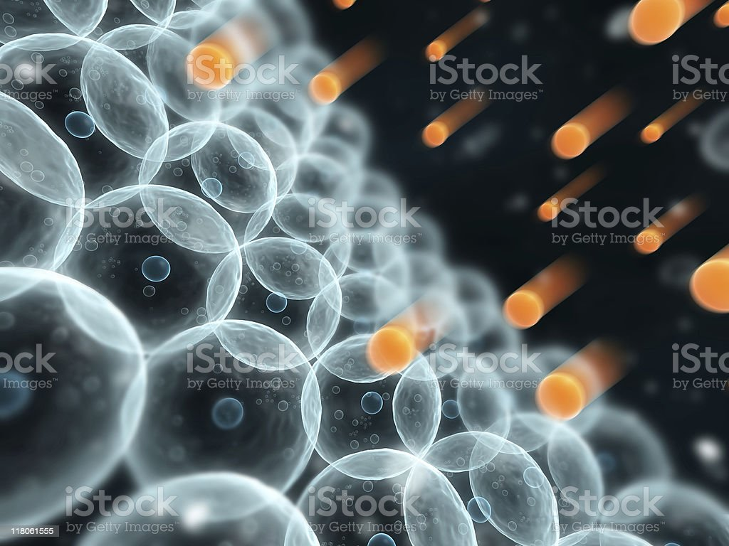 Close-up of rows of free radicals stock photo