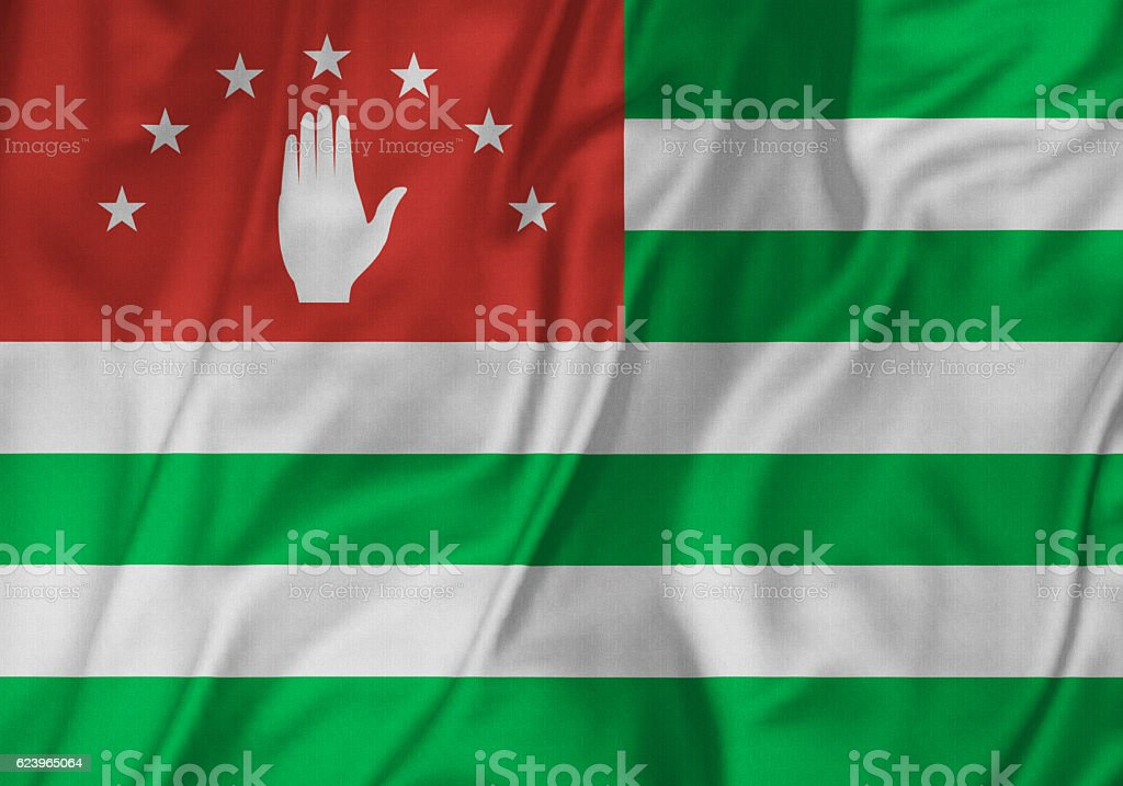 Closeup of Ruffled Abkhazia Flag stock photo