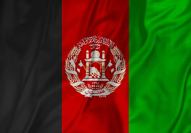 Closeup of Ruffled Afghanistan Flag, Afghanistan Flag Blowing in Wind - foto de acervo