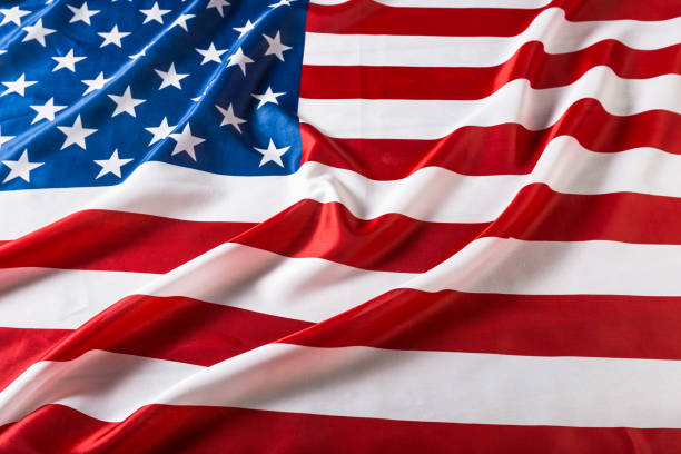 Closeup of ruffled American flag Closeup of ruffled American flag american flag photos stock pictures, royalty-free photos & images