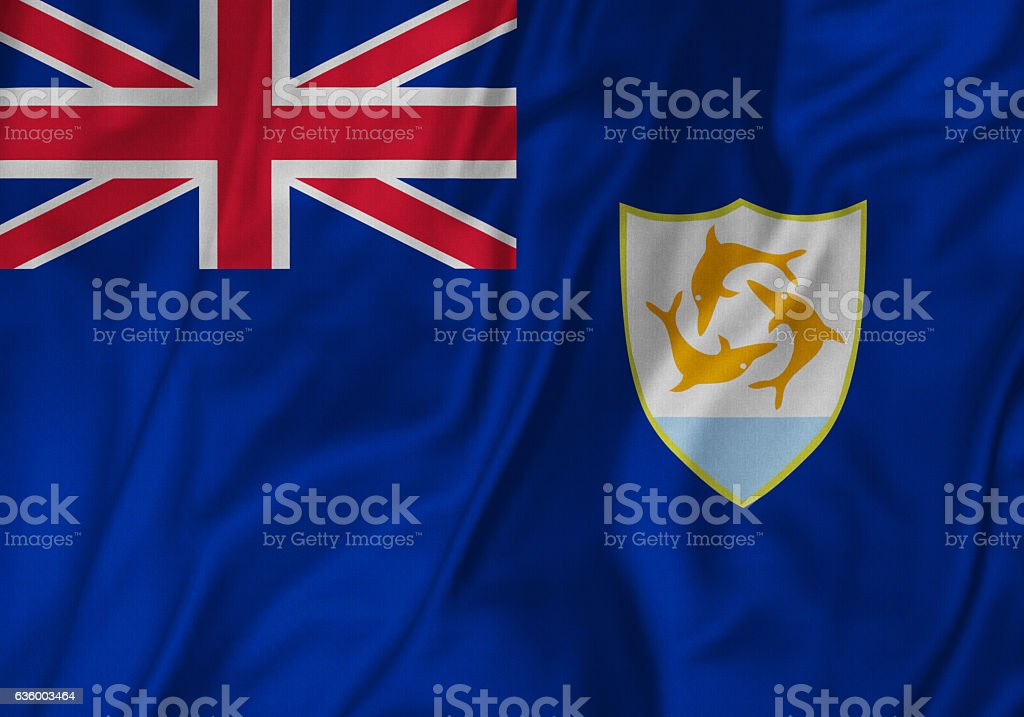 Closeup of Ruffled Anguilla Flag, Anguilla Flag Blowing in Wind stock photo