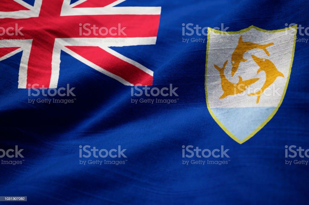 Closeup of Ruffled Anguilla Flag stock photo