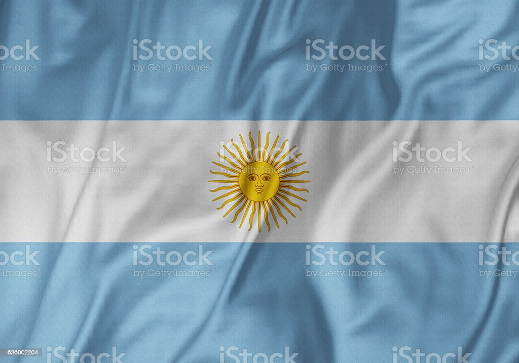 Closeup of Ruffled Argentina Flag, ArgentinaFlag Blowing in Wind – Foto