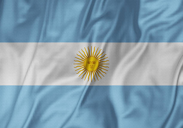 Closeup of Ruffled Argentina Flag, ArgentinaFlag Blowing in Wind stock photo