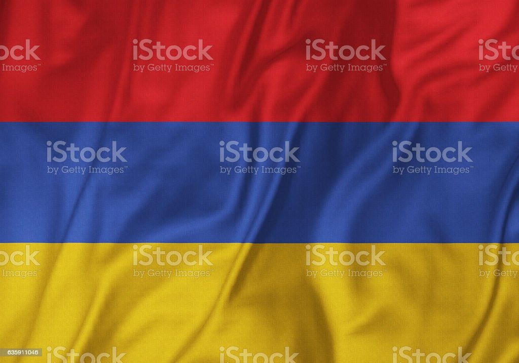 Closeup of Ruffled Armenia Flag, Armenia Flag Blowing in Wind stock photo