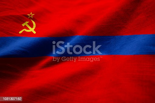 Closeup of Ruffled Armenian SSR Flag, Armenian SSR Flag Blowing in Wind