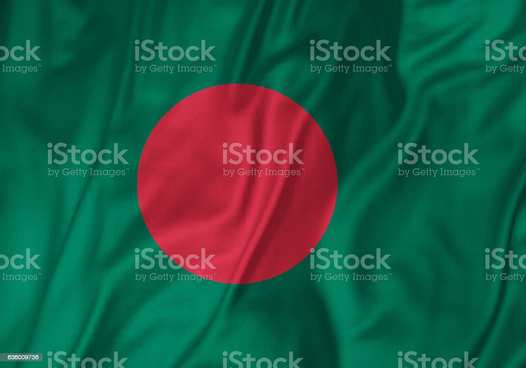 Closeup of Ruffled Bangladesh Flag, Bangladesh Flag Blowing in Wind - foto de stock