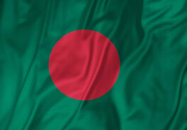 Closeup of Ruffled Bangladesh Flag, Bangladesh Flag Blowing in Wind stock photo