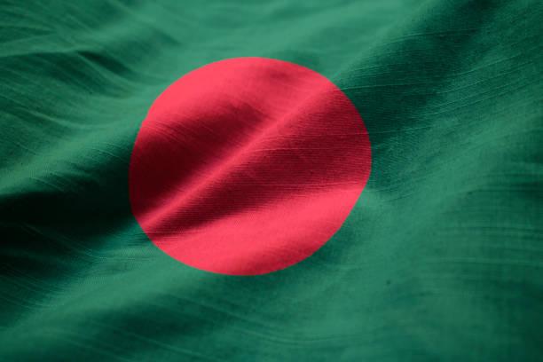 Closeup of Ruffled Bangladesh Flag stock photo