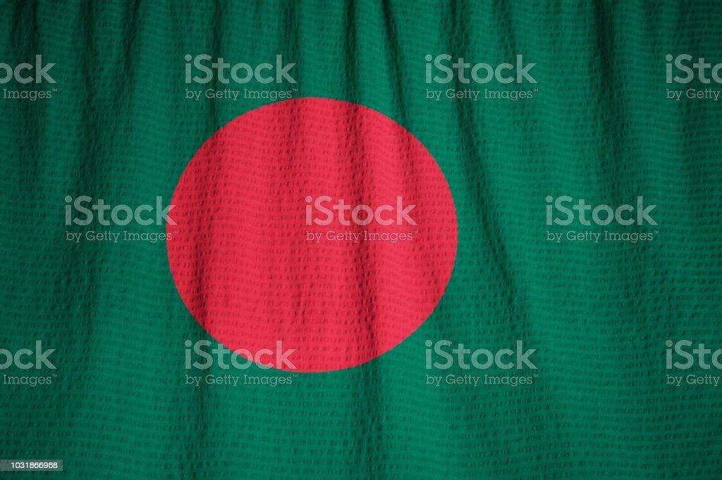 Nahaufnahme der gekräuselten Bangladesch Fahne – Foto