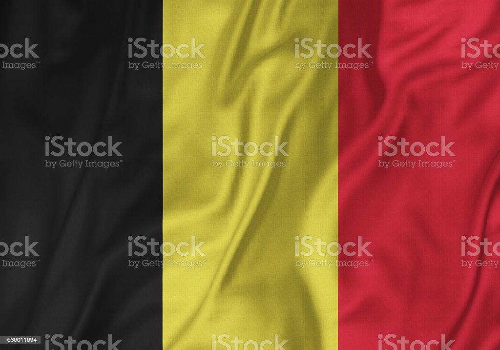 Closeup of Ruffled Belgium Flag, Belgium Flag Blowing in Wind stock photo