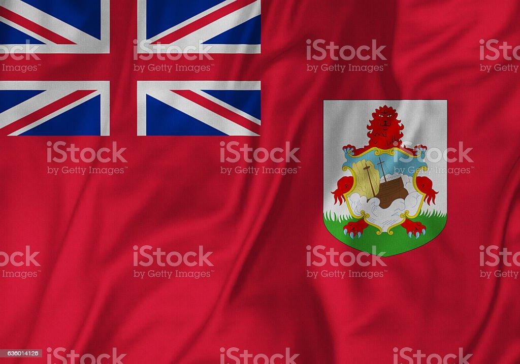 Closeup of Ruffled Bermuda Flag, Bermuda Flag Blowing in Wind stock photo