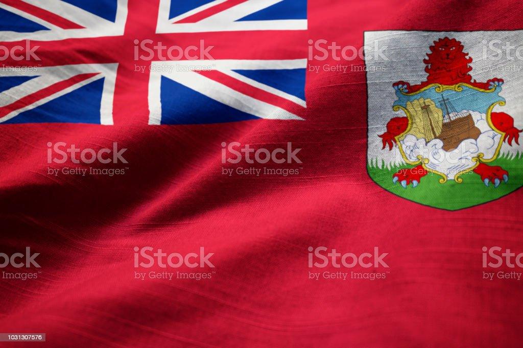 Closeup of Ruffled Bermuda Flag stock photo