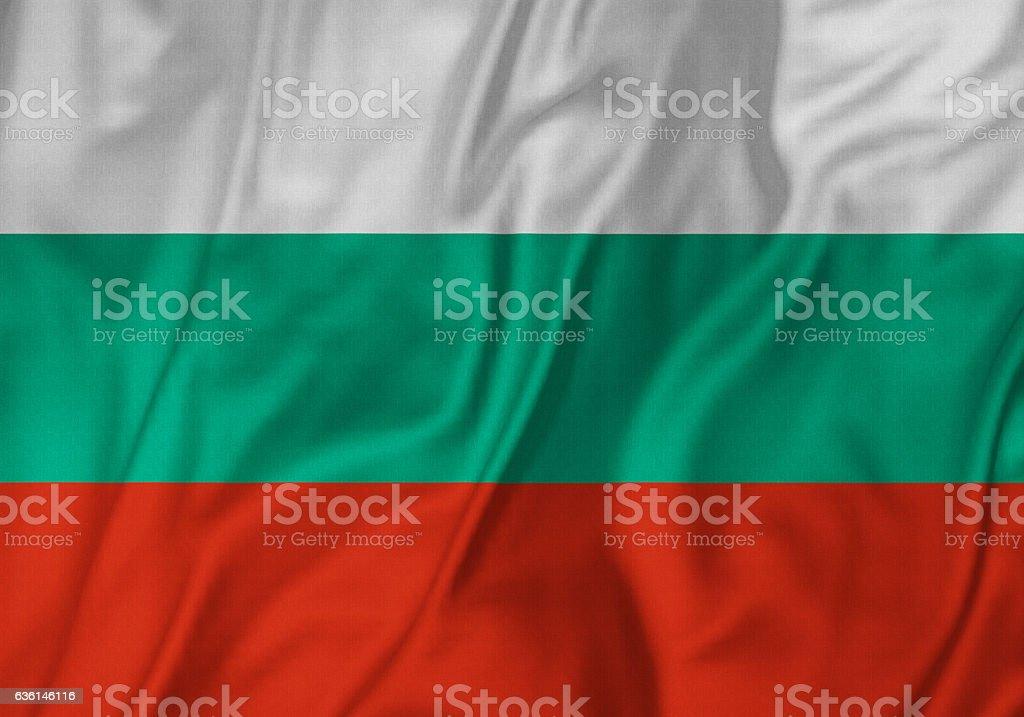 Closeup of Ruffled Bulgaria Flag, Bulgaria Flag Blowing in Wind stock photo